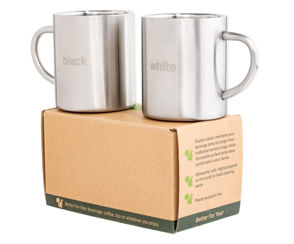 Black and White Better For Your Stainless Steel Mugs Copyright 2mugs on box