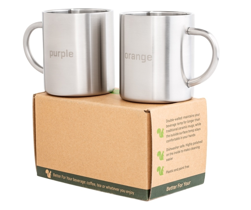 Purple and Orange Better For Your Stainless Steel Mugs Copyright 2 mugs on box