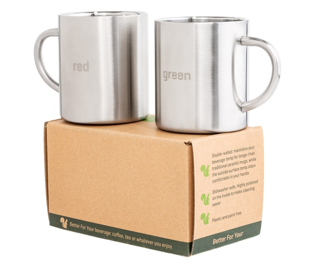 Red and Green Better For Your Stainless Steel Mugs Copyright 2 mugs on box